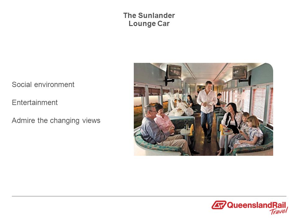 The Sunlander Lounge Car Social environment Entertainment Admire the changing views