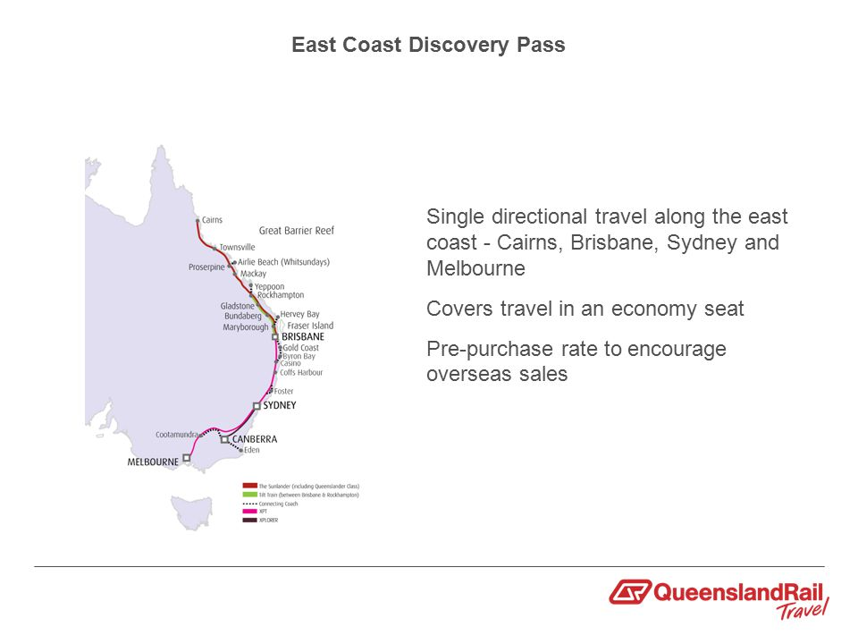East Coast Discovery Pass Single directional travel along the east coast - Cairns, Brisbane, Sydney and Melbourne Covers travel in an economy seat Pre-purchase rate to encourage overseas sales