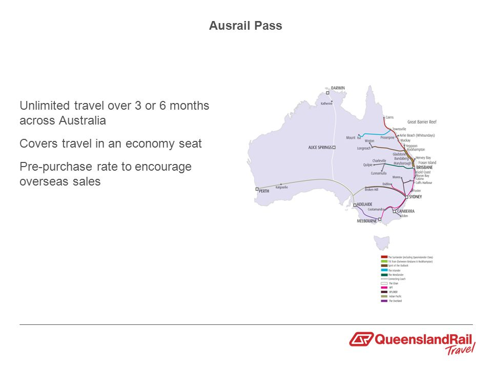 Ausrail Pass Unlimited travel over 3 or 6 months across Australia Covers travel in an economy seat Pre-purchase rate to encourage overseas sales