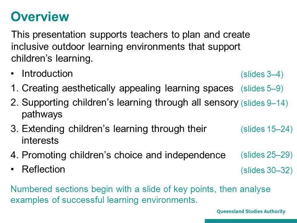 Overview Introduction 1.Creating aesthetically appealing learning spaces 2.Supporting children's learning through all sensory pathways 3.Extending children's learning through their interests 4.Promoting children's choice and independence Reflection (slides 3–4) (slides 5–9) (slides 9–14) (slides 15–24) (slides 25–29) (slides 30–32) Numbered sections begin with a slide of key points, then analyse examples of successful learning environments.