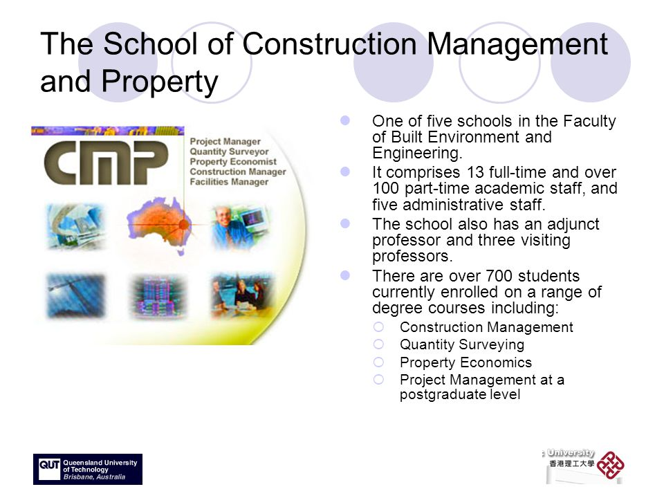 The School of Construction Management and Property One of five schools in the Faculty of Built Environment and Engineering.