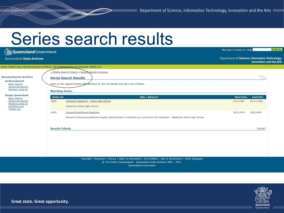 Series search results