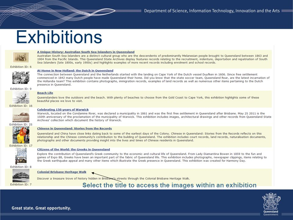 Select the title to access the images within an exhibition Exhibitions