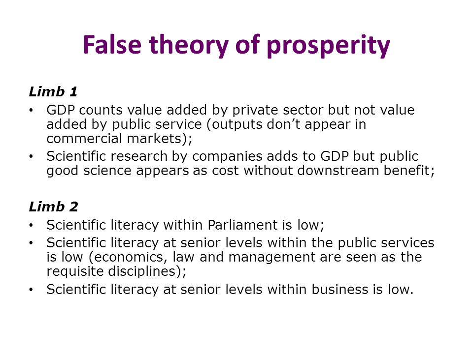 False theory of prosperity Limb 1 GDP counts value added by private sector but not value added by public service (outputs don't appear in commercial markets); Scientific research by companies adds to GDP but public good science appears as cost without downstream benefit; Limb 2 Scientific literacy within Parliament is low; Scientific literacy at senior levels within the public services is low (economics, law and management are seen as the requisite disciplines); Scientific literacy at senior levels within business is low.