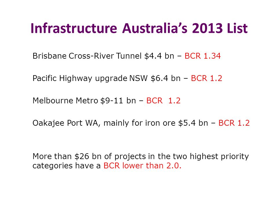 Infrastructure Australia's 2013 List Brisbane Cross-River Tunnel $4.4 bn – BCR 1.34 Pacific Highway upgrade NSW $6.4 bn – BCR 1.2 Melbourne Metro $9-11 bn – BCR 1.2 Oakajee Port WA, mainly for iron ore $5.4 bn – BCR 1.2 More than $26 bn of projects in the two highest priority categories have a BCR lower than 2.0.