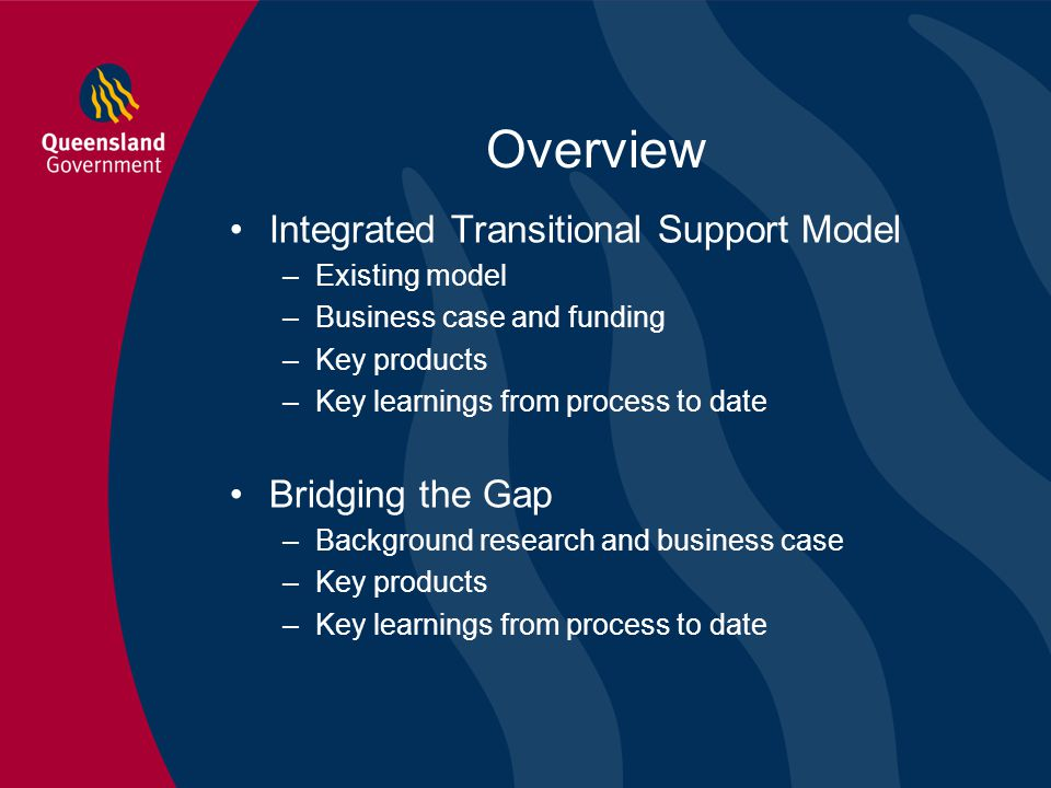 Overview Integrated Transitional Support Model –Existing model –Business case and funding –Key products –Key learnings from process to date Bridging t