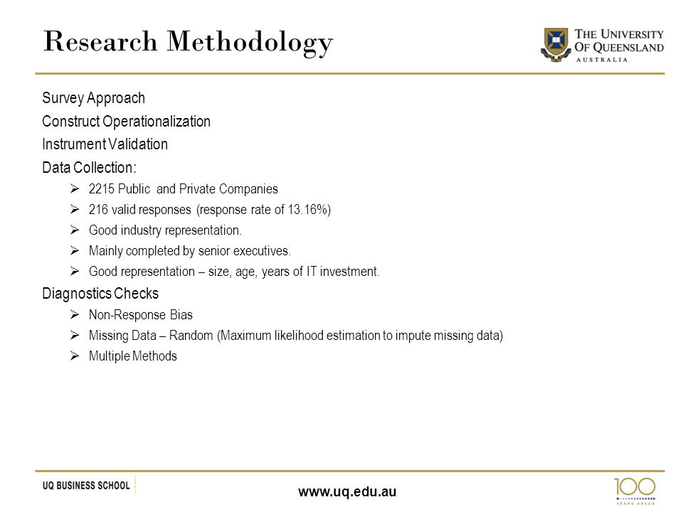 www.uq.edu.au Survey Approach Construct Operationalization Instrument Validation Data Collection:  2215 Public and Private Companies  216 valid resp