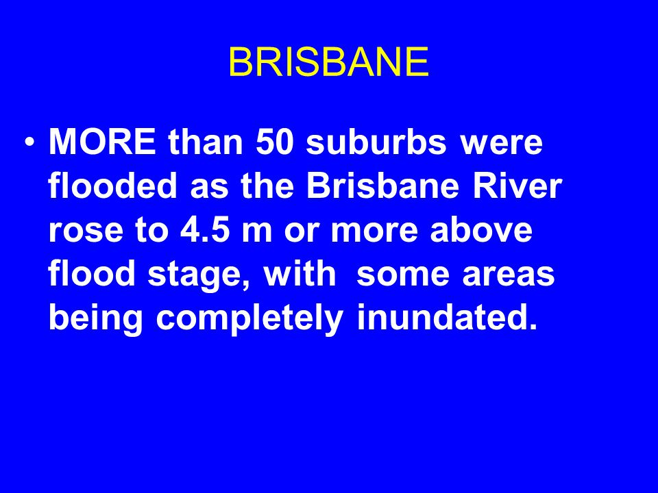 BRISBANE The city is protected by a large dam built upstream after floods devastated the downtown in 1974, but the reservoir was full, so officials had no choice but to release water, which caused flooding before the FLOOD .
