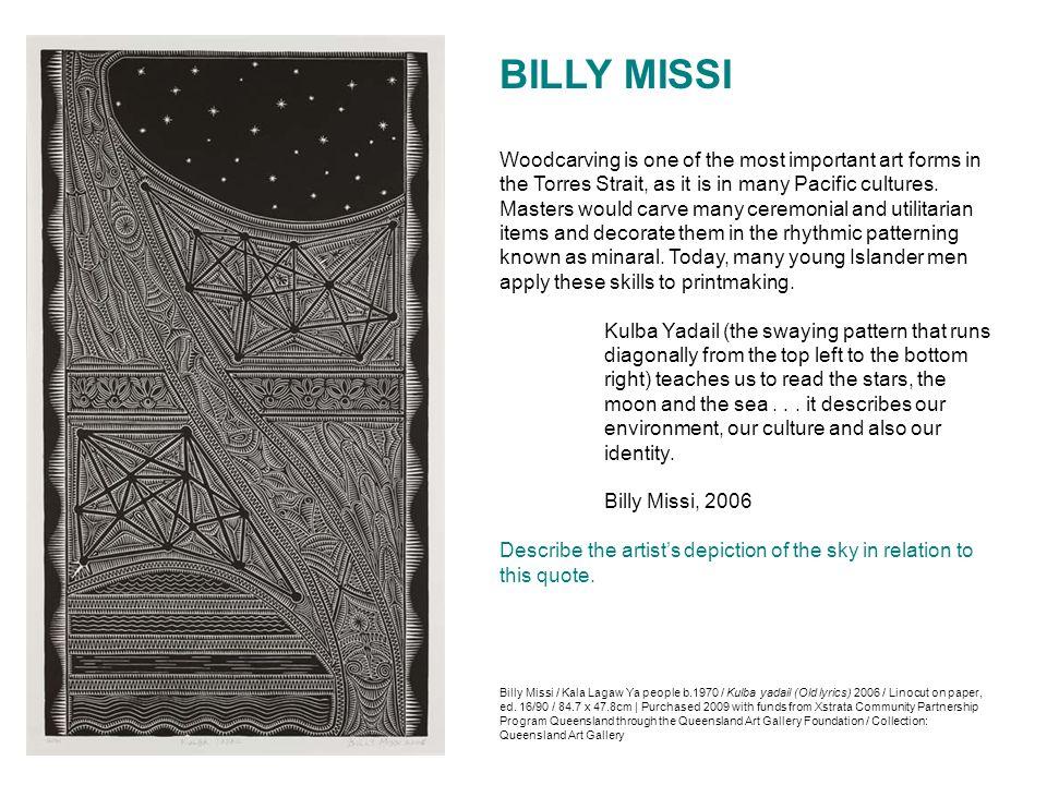 Billy Missi / Kala Lagaw Ya people b.1970 / Kulba yadail (Old lyrics) 2006 / Linocut on paper, ed. 16/90 / 84.7 x 47.8cm | Purchased 2009 with funds f