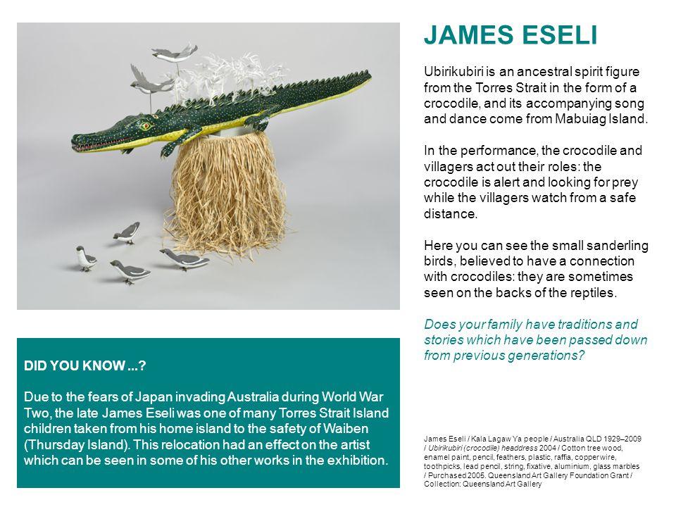 James Eseli / Kala Lagaw Ya people / Australia QLD 1929–2009 / Ubirikubiri (crocodile) headdress 2004 / Cotton tree wood, enamel paint, pencil, feathe