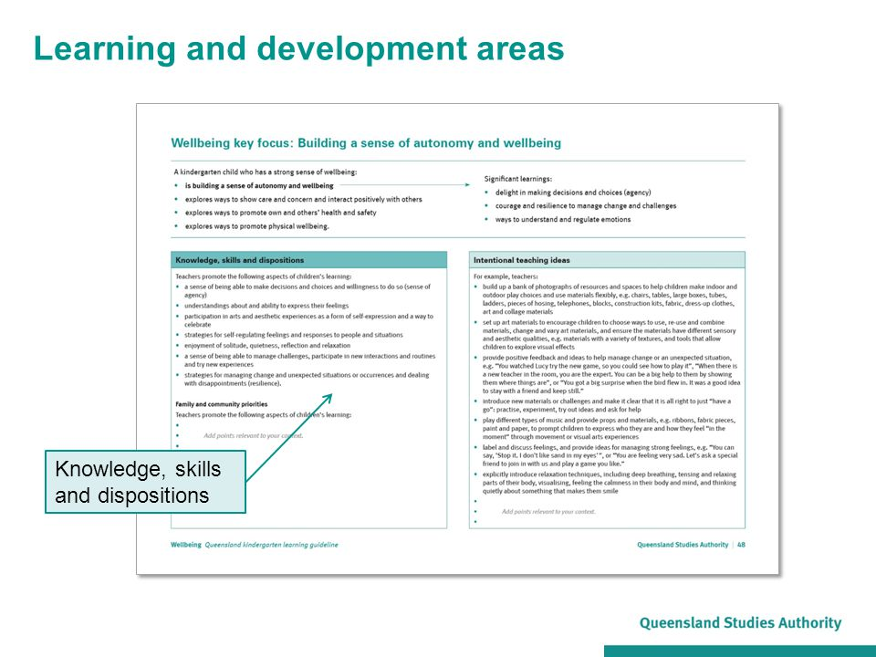 Learning and development areas Knowledge, skills and dispositions