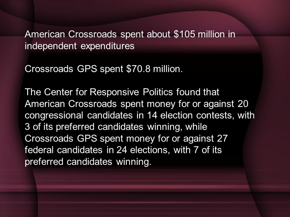 American Crossroads spent about $105 million in independent expenditures Crossroads GPS spent $70.8 million. The Center for Responsive Politics found