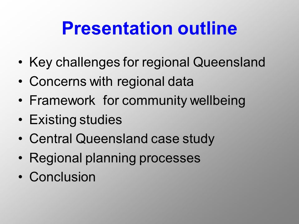 Objective To offer an explanation and a rationale for the inclusion of a set of social and community indicators of wellbeing into contemporary regional planning processes To develop a sustainable model for a set of community wellbeing indicators that is clearly linked to government policy and draws on local experience, knowledge and concerns