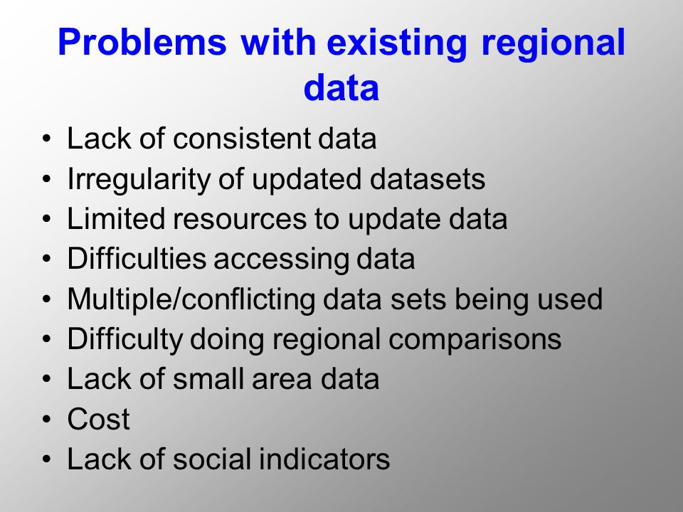 Problems with existing regional data Lack of consistent data Irregularity of updated datasets Limited resources to update data Difficulties accessing data Multiple/conflicting data sets being used Difficulty doing regional comparisons Lack of small area data Cost Lack of social indicators