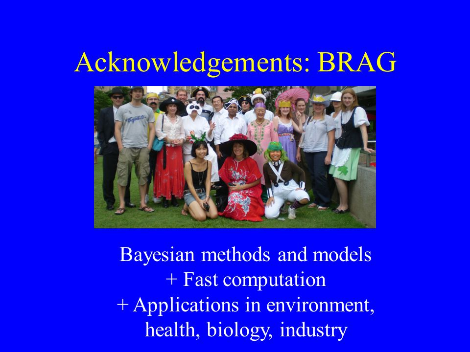 Acknowledgements: BRAG Bayesian methods and models + Fast computation + Applications in environment, health, biology, industry