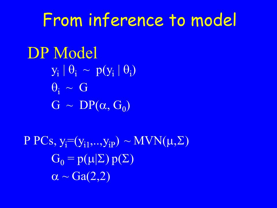 DP Model y i |  i ~ p(y i |  i )  i ~ G G ~ DP( , G 0 ) P PCs, y i =(y i1,..,y iP ) ~ MVN(  ) G 0 = p(  p   ~ Ga(2,2) From inference t