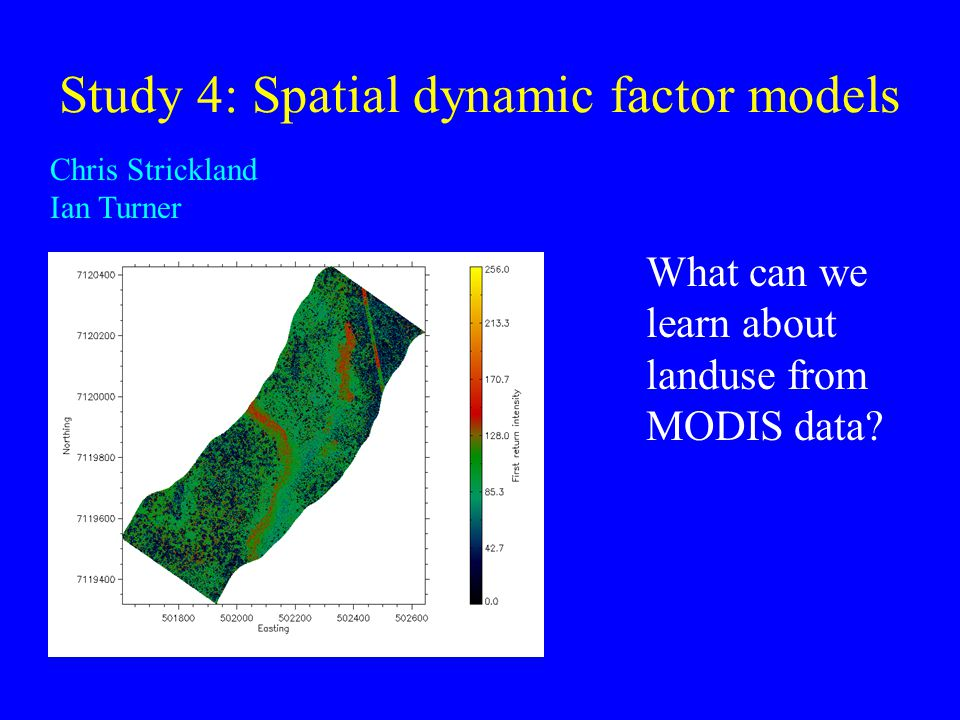 Study 4: Spatial dynamic factor models Chris Strickland Ian Turner What can we learn about landuse from MODIS data?