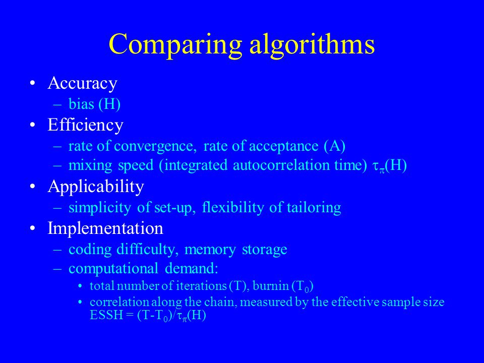 Comparing algorithms Accuracy –bias (H) Efficiency –rate of convergence, rate of acceptance (A) –mixing speed (integrated autocorrelation time)   (H