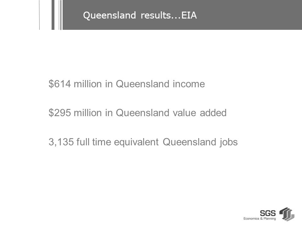 $614 million in Queensland income $295 million in Queensland value added 3,135 full time equivalent Queensland jobs Queensland results...EIA