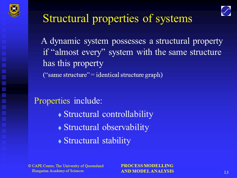 PROCESS MODELLING AND MODEL ANALYSIS 13 © CAPE Centre, The University of Queensland Hungarian Academy of Sciences Structural properties of systems A dynamic system possesses a structural property if almost every system with the same structure has this property ( same structure = identical structure graph) Properties include:   Structural controllability   Structural observability   Structural stability