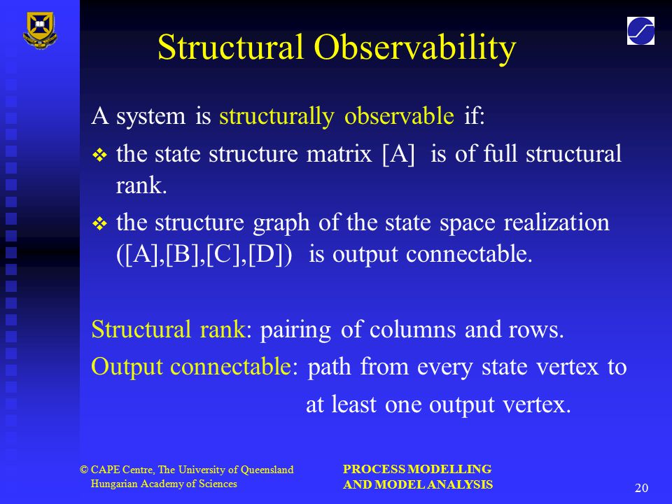 PROCESS MODELLING AND MODEL ANALYSIS 20 © CAPE Centre, The University of Queensland Hungarian Academy of Sciences Structural Observability A system is structurally observable if:   the state structure matrix [A] is of full structural rank.
