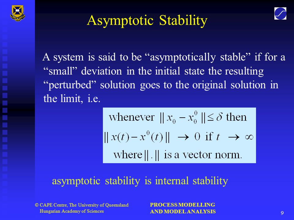 PROCESS MODELLING AND MODEL ANALYSIS 9 © CAPE Centre, The University of Queensland Hungarian Academy of Sciences Asymptotic Stability A system is said to be asymptotically stable if for a small deviation in the initial state the resulting perturbed solution goes to the original solution in the limit, i.e.