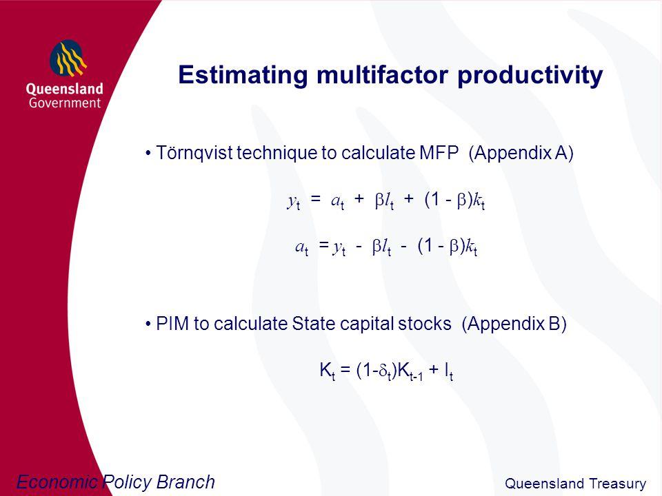 Economic Policy Branch Queensland Treasury Comparison with ABS estimates Figure 1: Multifactor productivity in Australia (average annual growth)