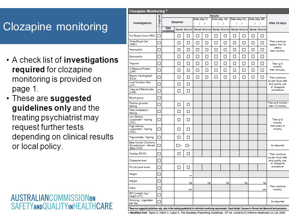 A check list of investigations required for clozapine monitoring is provided on page 1. These are suggested guidelines only and the treating psychiatr