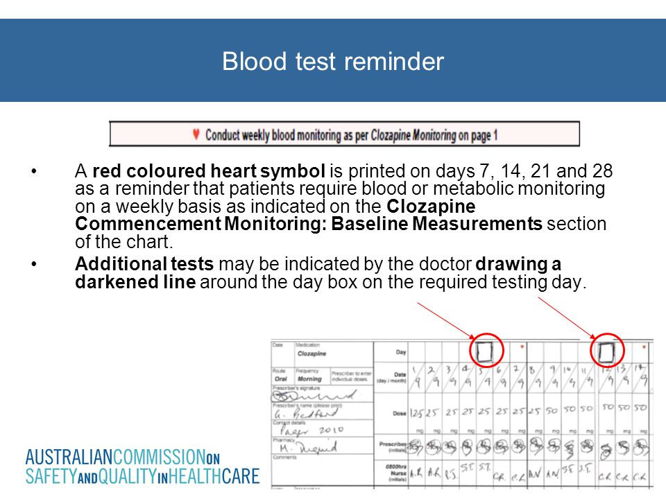 A red coloured heart symbol is printed on days 7, 14, 21 and 28 as a reminder that patients require blood or metabolic monitoring on a weekly basis as