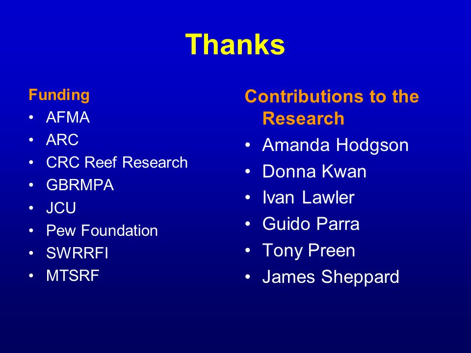 Thanks Funding AFMA ARC CRC Reef Research GBRMPA JCU Pew Foundation SWRRFI MTSRF Contributions to the Research Amanda Hodgson Donna Kwan Ivan Lawler G