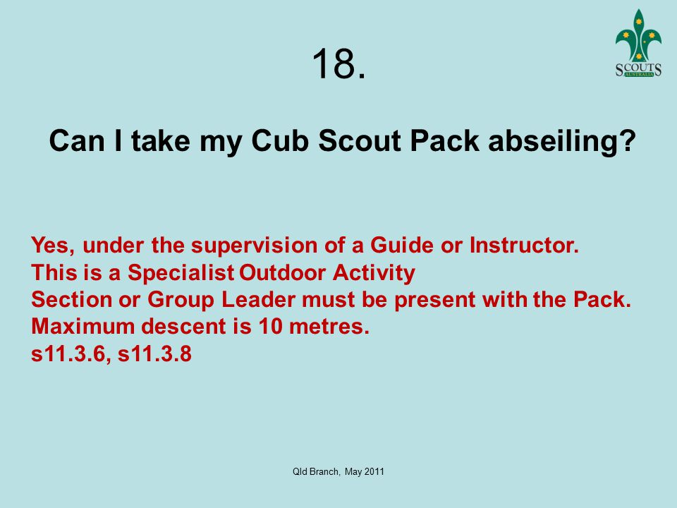 Qld Branch, May 2011 18. Can I take my Cub Scout Pack abseiling.