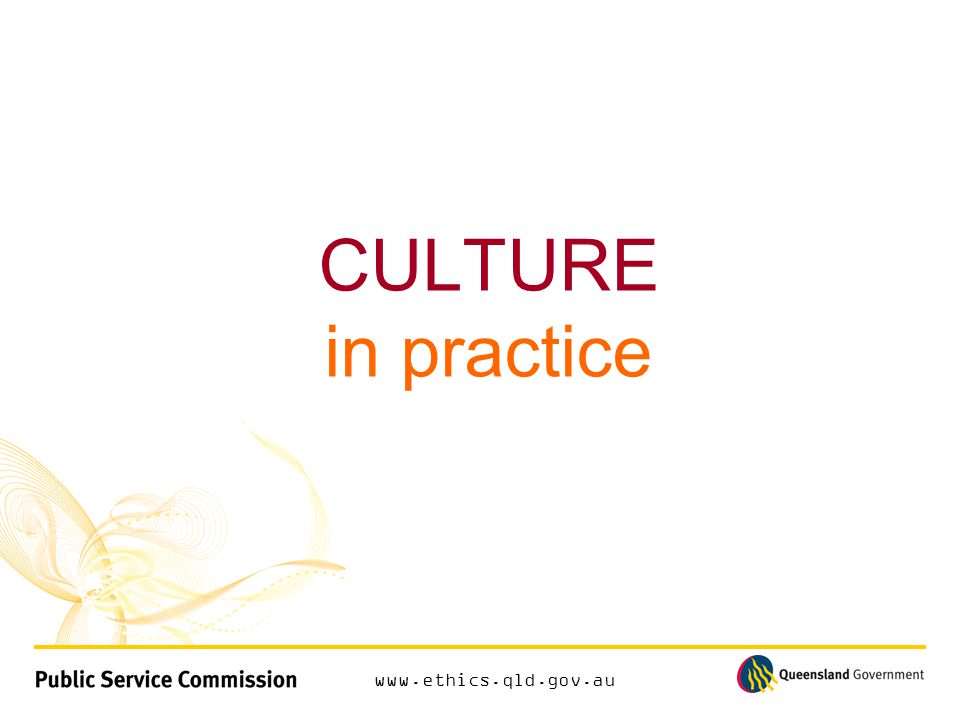 www.ethics.qld.gov.au CULTURE in practice