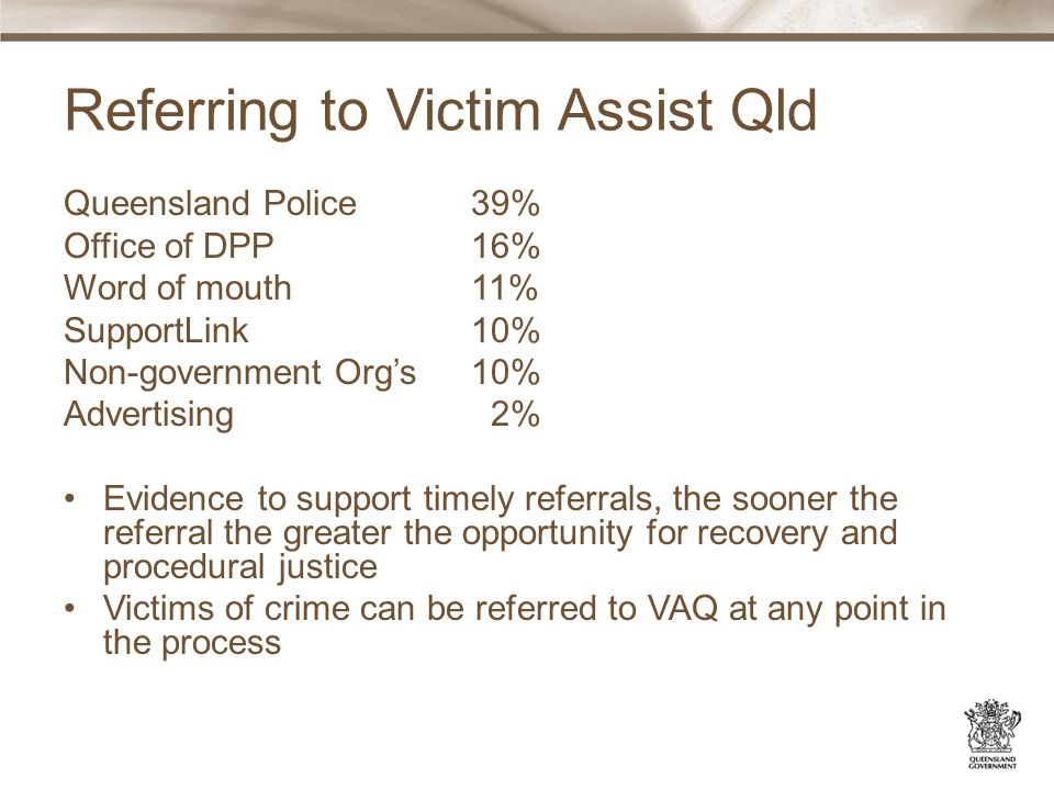 Referring to Victim Assist Qld Queensland Police 39% Office of DPP 16% Word of mouth 11% SupportLink 10% Non-government Org's 10% Advertising 2% Evidence to support timely referrals, the sooner the referral the greater the opportunity for recovery and procedural justice Victims of crime can be referred to VAQ at any point in the process