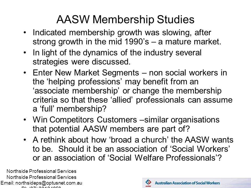 Northside Professional Services Email: northsideps@optusnet.com.au Ph (07) 33124950 AASW Membership Studies Indicated membership growth was slowing, after strong growth in the mid 1990's – a mature market.