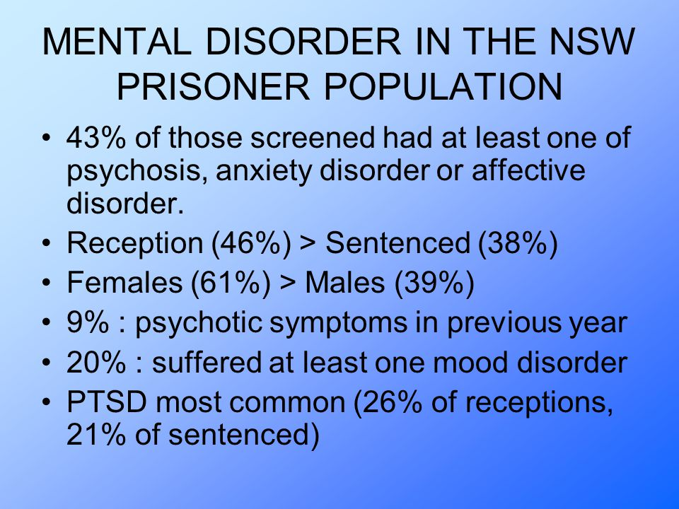 MENTAL DISORDER IN THE NSW PRISONER POPULATION 43% of those screened had at least one of psychosis, anxiety disorder or affective disorder.