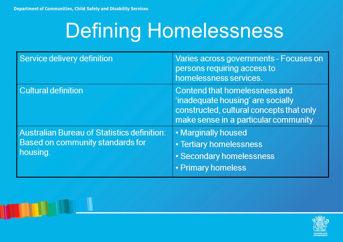 Defining Homelessness Service delivery definitionVaries across governments - Focuses on persons requiring access to homelessness services.