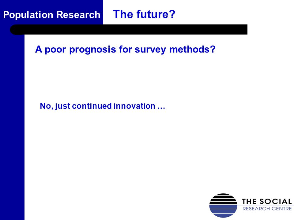 17 Population Research The future? No, just continued innovation … A poor prognosis for survey methods?