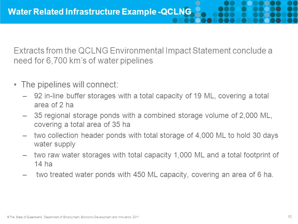 10 © The State of Queensland, Department of Employment, Economic Development and Innovation, 2011 Water Related Infrastructure Example -QCLNG Extracts from the QCLNG Environmental Impact Statement conclude a need for 6,700 km's of water pipelines The pipelines will connect: –92 in-line buffer storages with a total capacity of 19 ML, covering a total area of 2 ha –35 regional storage ponds with a combined storage volume of 2,000 ML, covering a total area of 35 ha –two collection header ponds with total storage of 4,000 ML to hold 30 days water supply –two raw water storages with total capacity 1,000 ML and a total footprint of 14 ha – two treated water ponds with 450 ML capacity, covering an area of 6 ha.