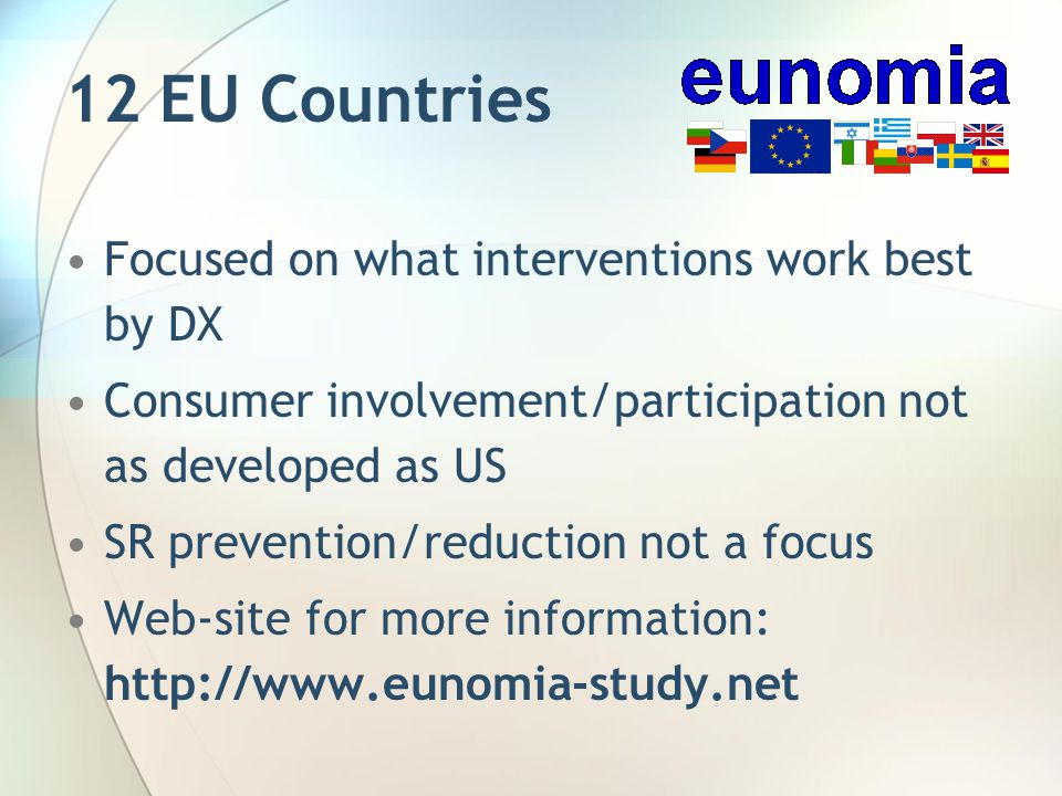 12 EU Countries Focused on what interventions work best by DX Consumer involvement/participation not as developed as US SR prevention/reduction not a