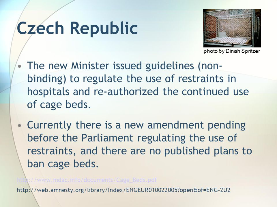 Czech Republic The new Minister issued guidelines (non- binding) to regulate the use of restraints in hospitals and re-authorized the continued use of