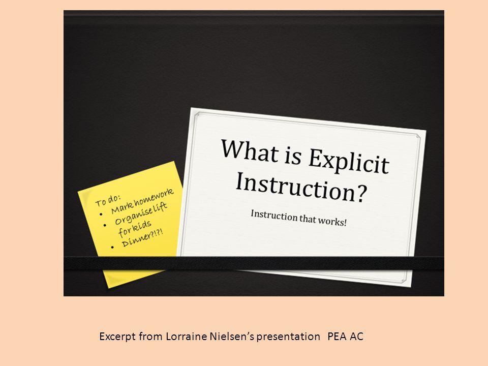 Excerpt from Lorraine Nielsen's presentation PEA AC