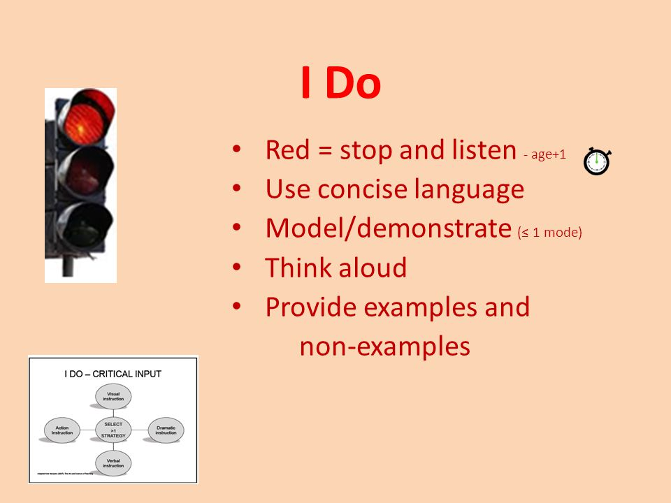 I Do Red = stop and listen - age+1 Use concise language Model/demonstrate (≤ 1 mode) Think aloud Provide examples and non-examples