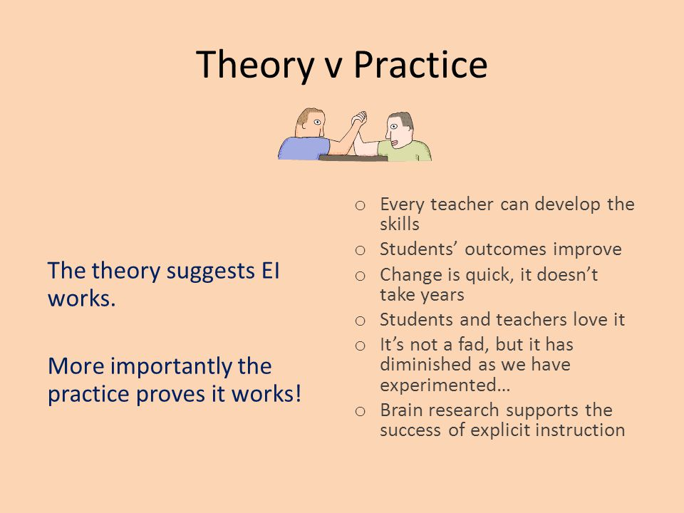 Theory v Practice The theory suggests EI works. More importantly the practice proves it works.
