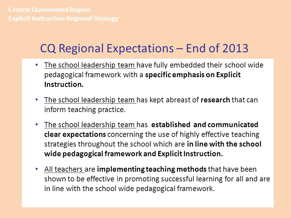 The school leadership team have fully embedded their school wide pedagogical framework with a specific emphasis on Explicit Instruction. The school le