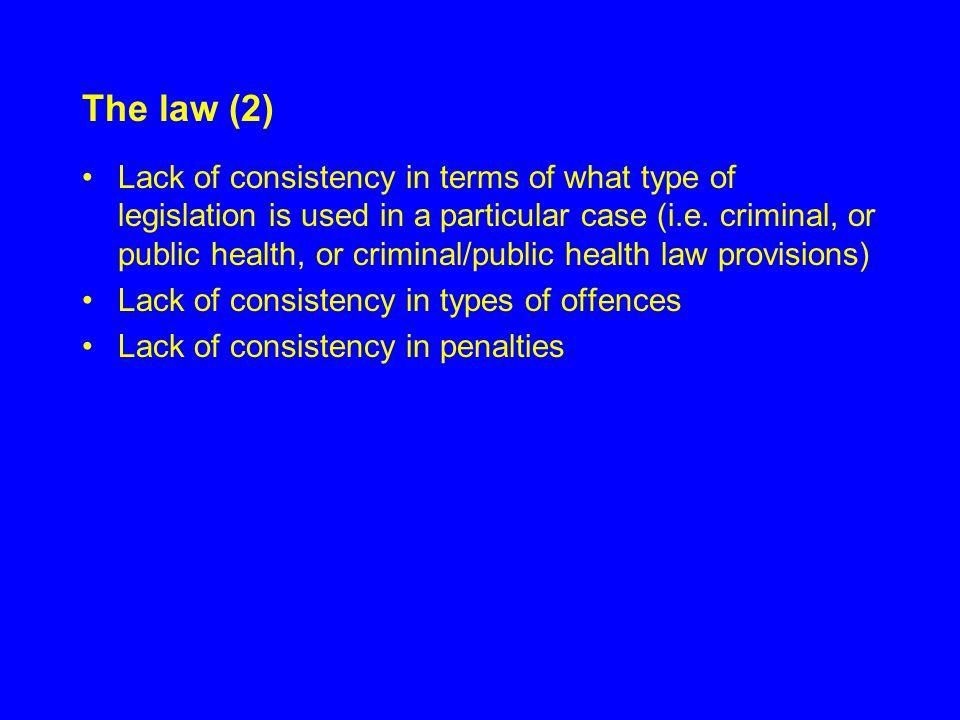 Type of legislation used JurisdictionCriminal LawPublic Health Law NSWCrimes Act 1900 s33,35Public Health Act 1991 s13 VictoriaCrimes Act 1958 s16, 17, 19a, 22 Health Act 1958 s120 QueenslandCriminal Code 1899 s317, 320Public Health Act 2005 s143 WACriminal Code s294,297 SACriminal Law Consolidation Act 1935 s29 Public and Environmental Health Act 1987 s37 TasmaniaCriminal Code Act 1924 s170, 172 HIV/AIDS Preventative Measures Act 1993 s20 ACTCrimes Act 1990 s19, 25 NTCriminal Code Act s177,181