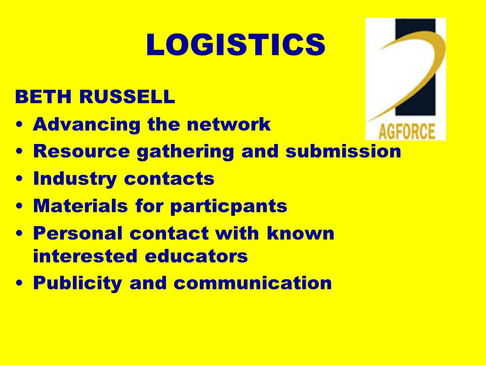 LOGISTICS BETH RUSSELL Advancing the network Resource gathering and submission Industry contacts Materials for particpants Personal contact with known interested educators Publicity and communication
