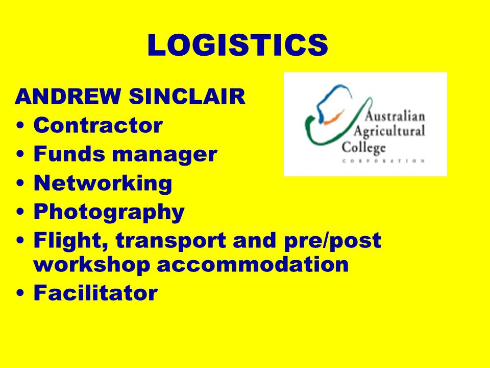 LOGISTICS ANDREW SINCLAIR Contractor Funds manager Networking Photography Flight, transport and pre/post workshop accommodation Facilitator