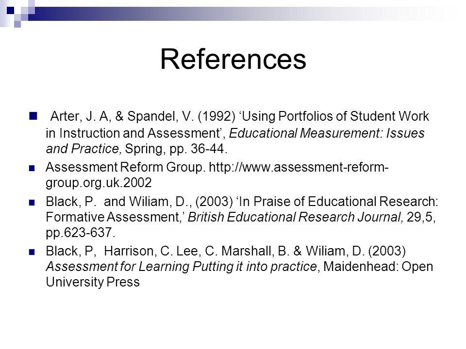 References Arter, J.A, & Spandel, V.