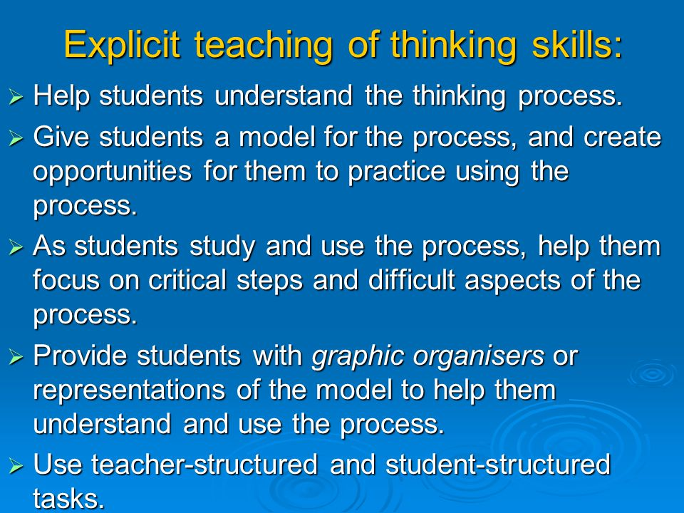 Implicit in the Dimensions of Learning model, or framework, are five basic assumptions: 1. Instruction must reflect the best of what we know about how