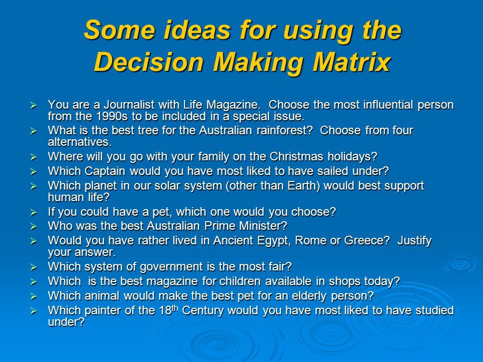 Secondary School Context  Civics – deciding on the best item to buy (eg mobile phones) and why  Geography – most livable Brisbane suburb  Computing